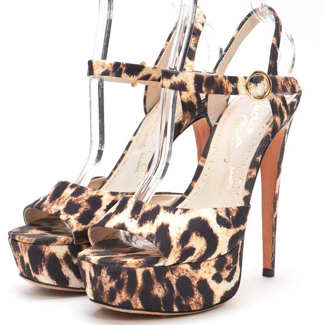 ALICE + OLIVIA Brown Leopard Printed Canvas Ankle Strap Platform Sandals