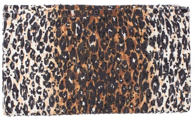 ALICE + OLIVIA Brown Black Animal Printed Sequin Embellished Wool Knit Scarf