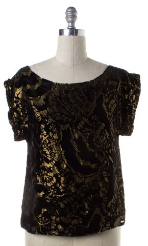 ALICE + OLIVIA Black Gold Floral Velvet Top