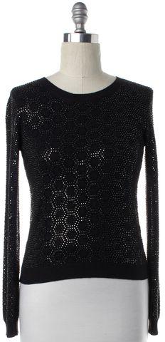 ALICE + OLIVIA Black Embellished Knit Long Sleeve Top