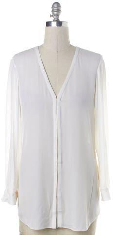 ALICE + OLIVIA White Silk Long Sleeve Blouse Fits Like a L