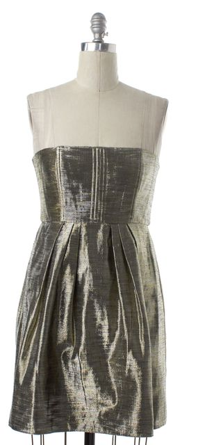 ALICE + OLIVIA Metallic Gold Silver Strapless Fit & Flare Dress