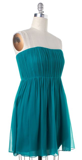ALICE + OLIVIA Teal Blue Silk Strapless Pleated Blouson Dress