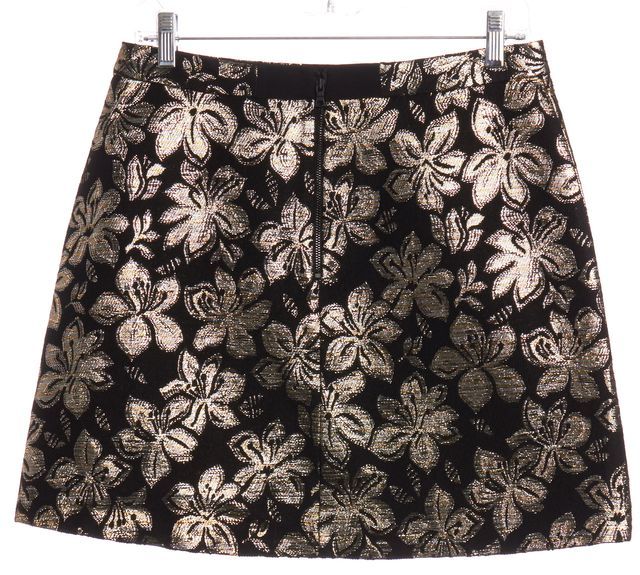 ALICE + OLIVIA Black Gold/Silver Floral Textured Mini Skirt