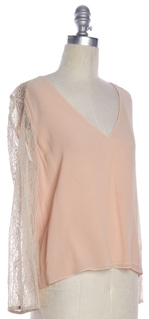 ALICE + OLIVIA Blush Pink Sheer Lace Sleeves Silk V Neck Blouse Top