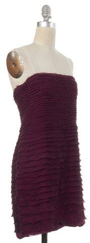 ALICE + OLIVIA Purple Silk Tiered Strapless Sheath Dress