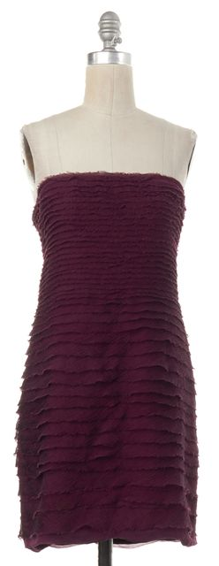 ALICE + OLIVIA Purple Silk Tiered Strapless Sheath Dress