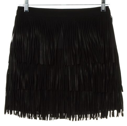 ALICE + OLIVIA Black Goat Leather Suede Tassel Tiered Skirt