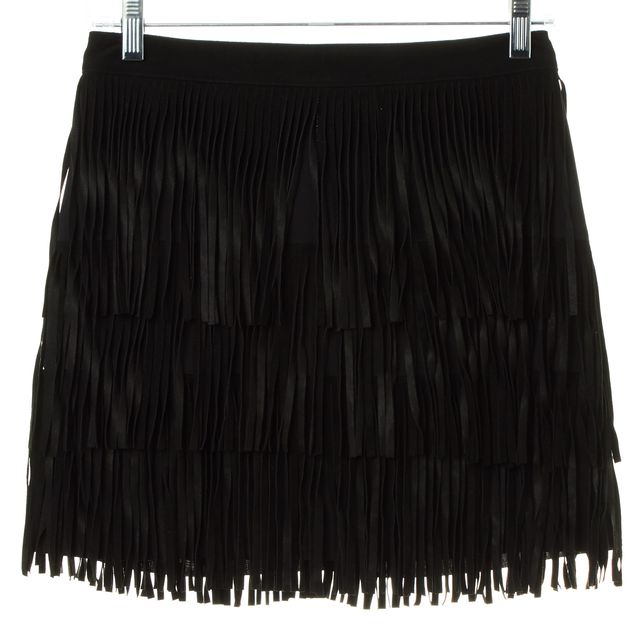 ALICE + OLIVIA Black Goat Leather Suede Tassel Tiered Skirt