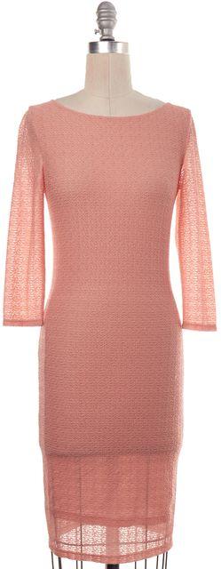 ALICE + OLIVIA Peach Pink Textured Sheath Dress