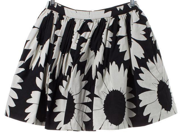 ALICE + OLIVIA Black Beige Floral Print Pleated A-Line Skirt
