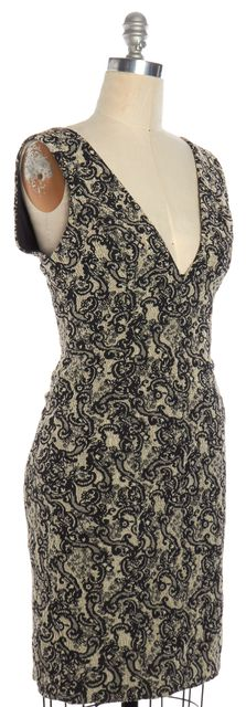 ALICE + OLIVIA Black Beige Lace Design Sleeveless V Neck Sheath Dress