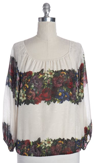 ALICE + OLIVIA Ivory Multicolor Floral Print Silk Blouse Top