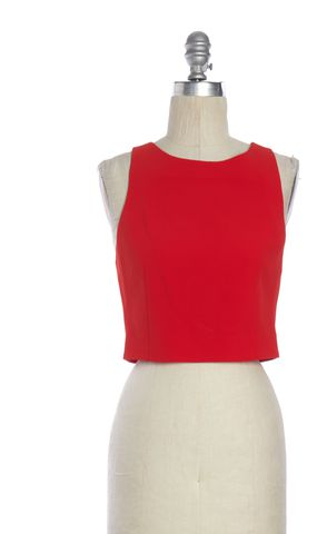 ALICE + OLIVIA Red Crop Tank Top