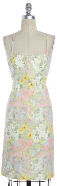 ALICE + OLIVIA Multi Color Floral Printed Denim Bustier Bodycon Dress