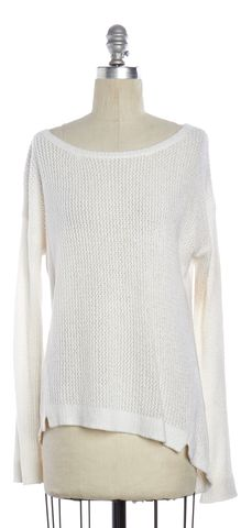 ALICE + OLIVIA White Boat Neck Open Knit Asymmetric Hem Sweater