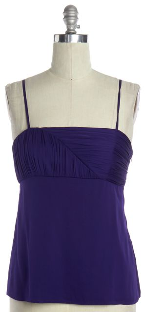 ALICE + OLIVIA Purple Silk Ruffle Back Blouse