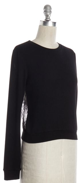 ALICE + OLIVIA Black Crewneck Lace Back Sweater