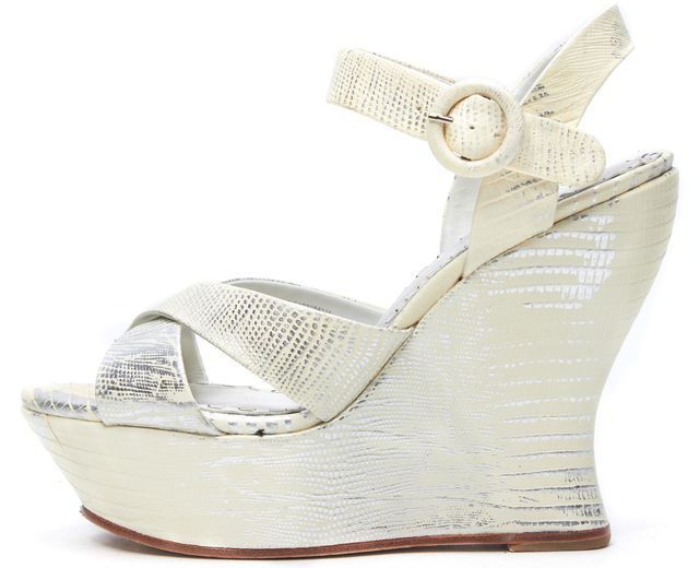 ALICE + OLIVIA Ivory Embossed Leather Platform Wedges