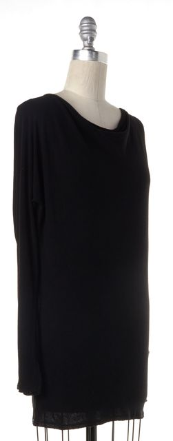 ALICE + OLIVIA Black Long Sleeve Stitch Back Detail Oversized Top
