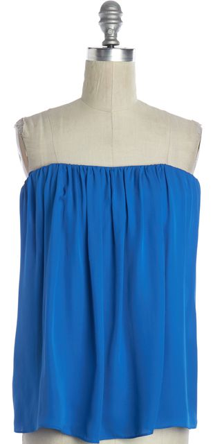 ALICE + OLIVIA Blue Silk Cutout Back Strapless Blouse