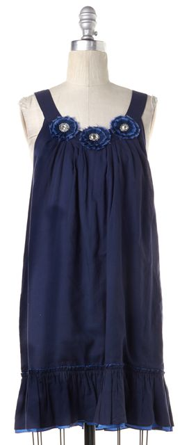 ALICE + OLIVIA Blue Floral Crystal Embellished Sleeveless Shift Dress
