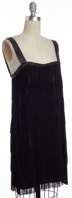 ALICE + OLIVIA Black Tassel Fringe Embellished Leather Trim Shift Dress