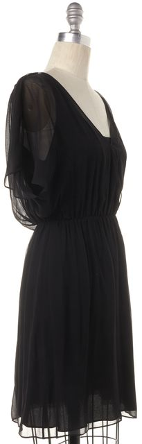 ALICE + OLIVIA Black Sheer Silk Cutout Back Sheath Dress