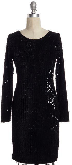 ALICE + OLIVIA Black Sequin Cutout Long Sleeve Bodycon Dress