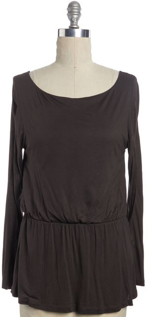 ALICE + OLIVIA Brown Stretch Low Back Blouse