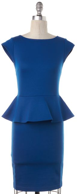 ALICE + OLIVIA Blue Knee-Length Peplum Dress