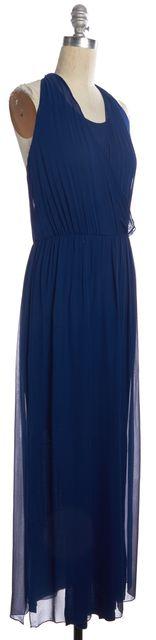 ALICE + OLIVIA Royal Blue Silk Maxi Casual Tie-Back Halter Summer Dress