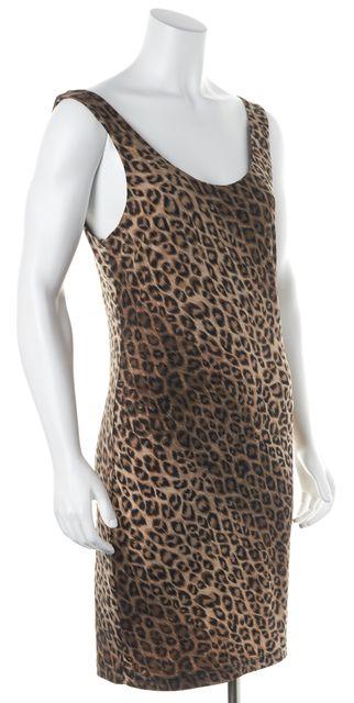 ALICE + OLIVIA Brown Leopard Print Cutout Back Sheath Dress