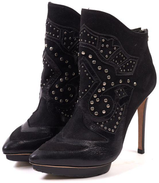 ALICE + OLIVIA Black Suede Leather Embellished Platform Ankle Boots