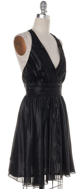 ALICE + OLIVIA Black Metallic Silk Deep V Racer Back Empire Waist Dress
