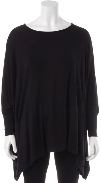 ALICE + OLIVIA Black Long Sleeve Batwing Basic Tee Top