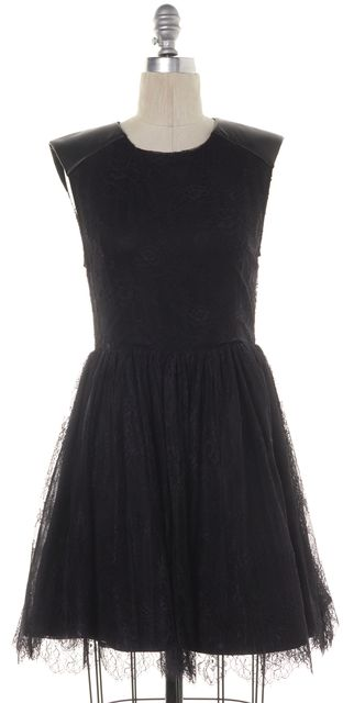 ALICE + OLIVIA Black Fit & Flare Lace Embroidered Zip Back Casual Dress
