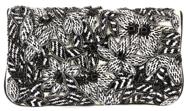 ALICE + OLIVIA Black White Floral Embellished Large Fold Over Clutch