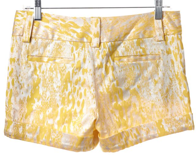 ALICE + OLIVIA Yellow White Abstract Casual Shorts