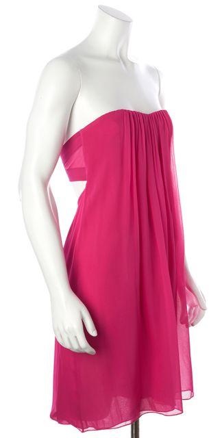 ALICE + OLIVIA Pink Silk Strapless Cutout Back Pleated Shift Dress