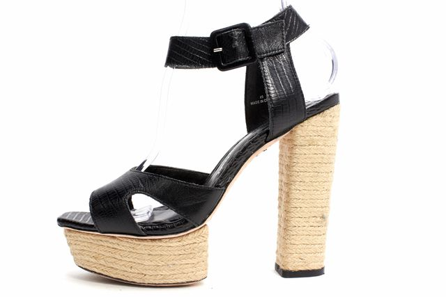 ALICE + OLIVIA Black Lizard Embossed Leather Raffia Platform Sandals