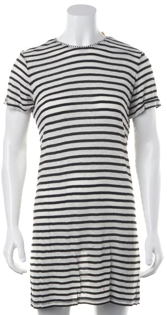 ALICE + OLIVIA White Black Striped Linen Short Sleeve T-Shirt Shift Dress