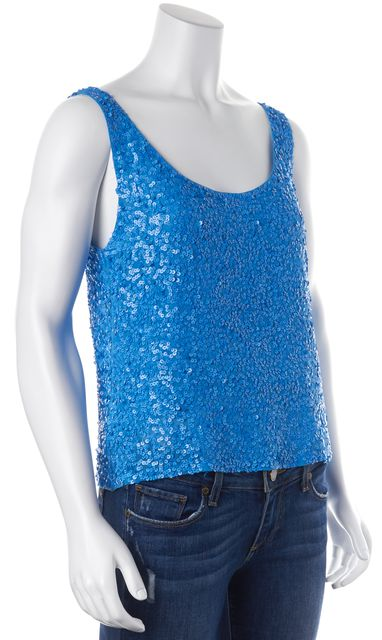 ALICE + OLIVIA Blue Sequin Embellished Silk Tank Top