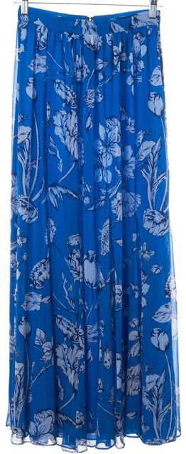 ALICE + OLIVIA Blue White Navy Casual Abstract Floral Print Maxi Skirt