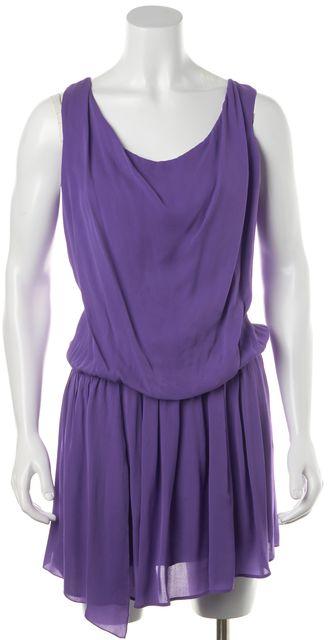 ALICE + OLIVIA Purple Silk Blouson Ruffle Pleat Cut-Out Back Dress