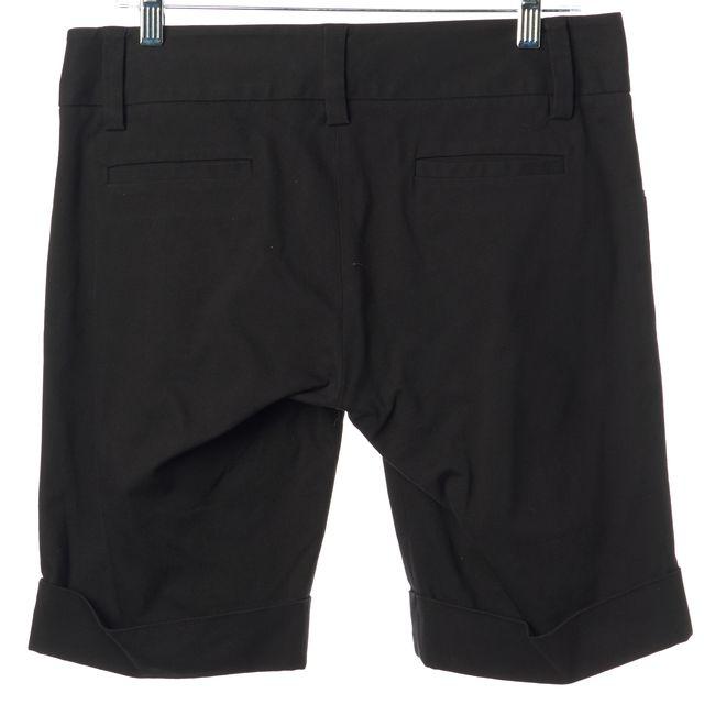ALICE + OLIVIA Black Stretch Cotton Cuffed Bermuda Summer Shorts