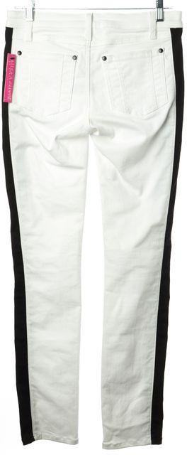 ALICE + OLIVIA White Black Panels Stretch Cotton Denim Skinny Jeans