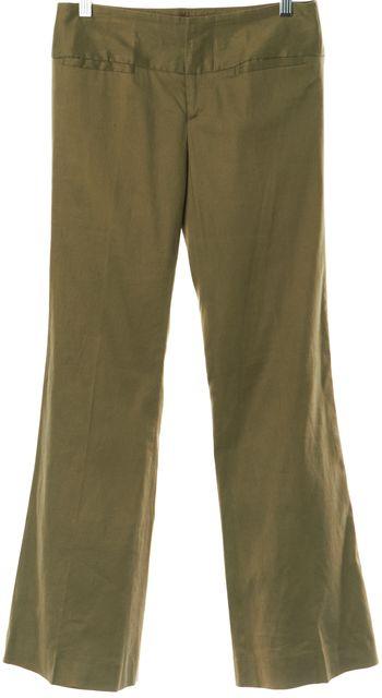 ALICE + OLIVIA Olive Green Casual Slim Fit Flare Leg Boot Cut Dress Pants