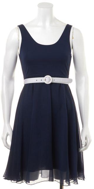 ALICE + OLIVIA Blue White Belted Cutout Back Sleeveless Fit & Flare Dress