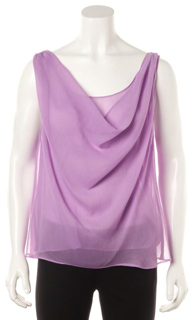 ALICE + OLIVIA Purple Draped Sleeveless Low Back Summer Blouse